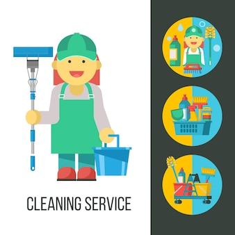 Услуги по уборке. уборщица с сс и ведром в руке. набор чистящих средств