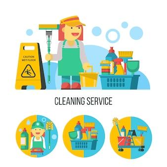 청소 서비스. 걸레, 청소 제품, 젖은 바닥 표지판이 있는 청소부.