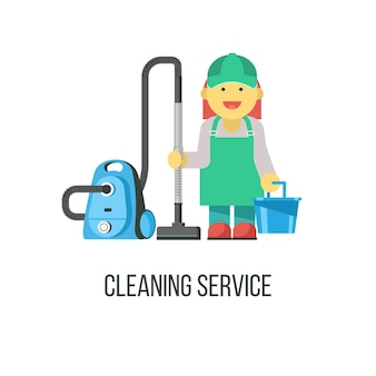 Cleaning service. the cleaning lady with the vacuum cleaner and a bucket in his hand.
