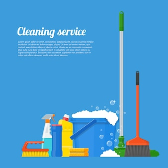 Cleaning service company concept illustration. house tools poster design in flat style