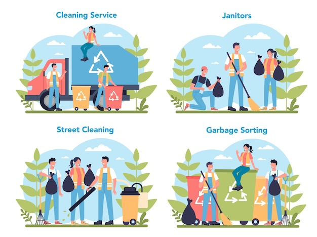 Cleaning service or company concept set. cleaning staff with special equipment. janitor workers cleaning street and sorting garbage.