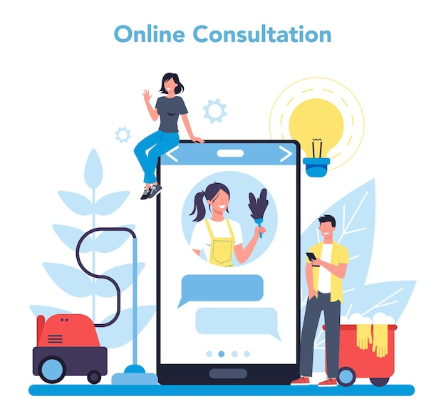 Cleaning service or company online service or platform. collection of woman and man doing housework. online consultation. isolated vector illustration in cartoon style