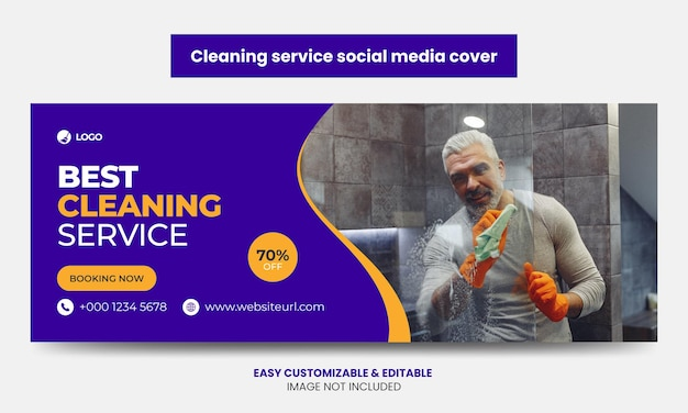 Cleaning service company social media facebook cover photo template