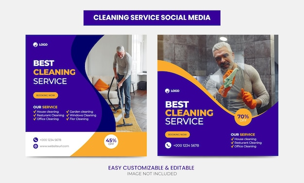 Cleaning service company social media facebook instagram post template