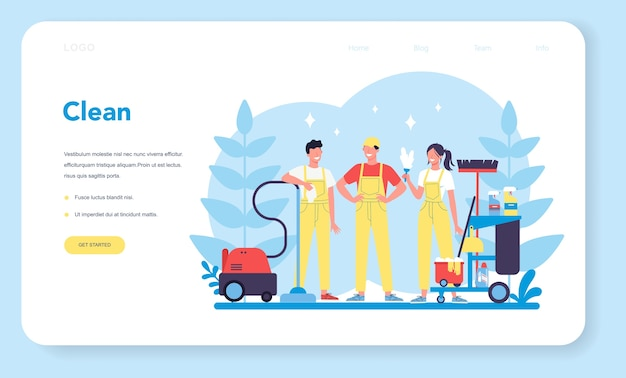 Cleaning service or company web banner or landing page