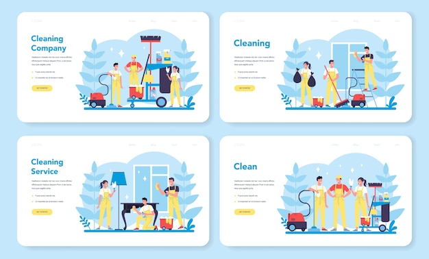Cleaning service or company web landing page set. collection of woman and man doing housework. professional occupation. janitor washing floor and furniture. isolated vector illustration