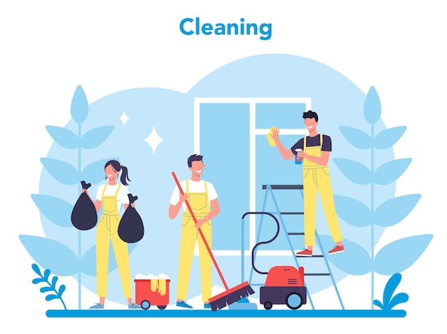Cleaning service or company. woman and man doing housework. professional occupation. janitor washing floor and furniture.