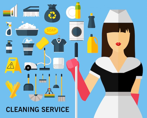 Cleaning service concept background. flat icons.