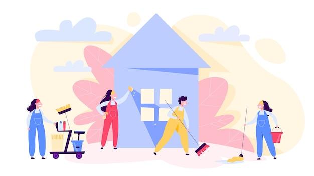 Баннер концепции службы уборки. люди в форме