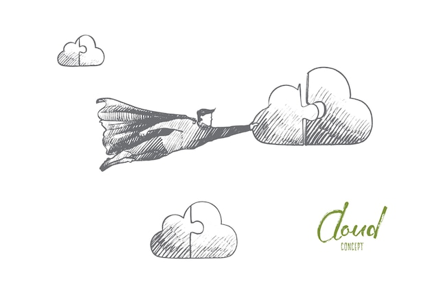 Cleaning service concept. hand drawn superhero connect to cloud. flying hero holds part of cloud in his hand isolated illustration.