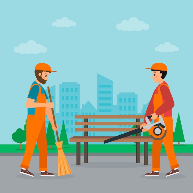 Концепция услуг по уборке. двое дворников подметают улицу с городским пейзажем. первый держит веник, другой - садовую воздуходувку. плоский стиль. векторная иллюстрация.
