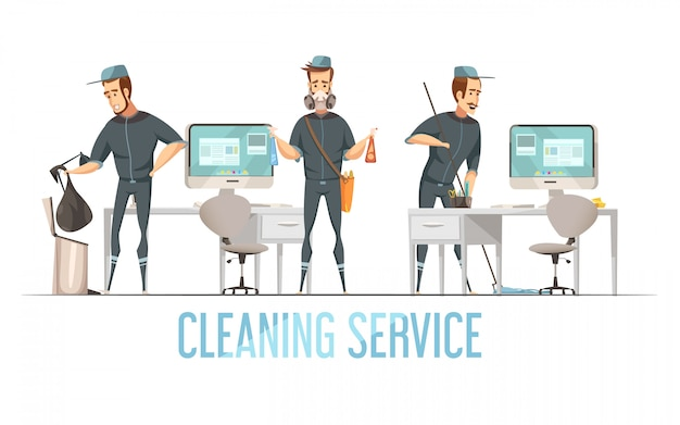 Cleaning service concept with male person in uniform doing removal of waste cleaning and disinfection of premises
