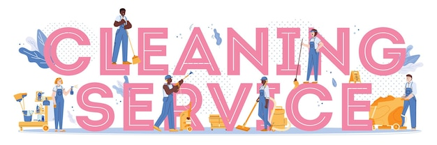 Cleaning service concept with a vector flat isolated illustration