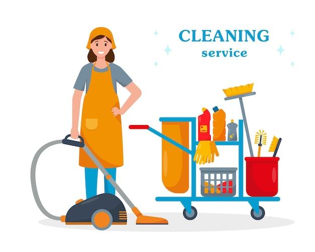 Концепция услуг по уборке женщина с пылесосом и тележкой для уборки персонаж уборщика с инструментами