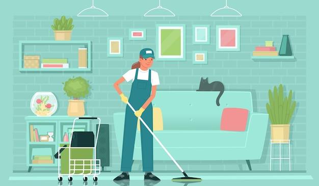 清掃サービス制服を着た女性クリーナー社員が居間でモップで床を洗う