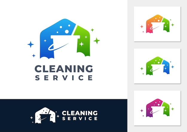 Cleaning service gradient logo vector