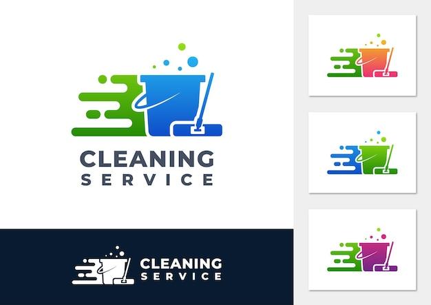 クリーニングサービスのグラデーションのロゴのベクトル Premiumベクター