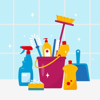 Cleaning service household cleaning products and tools