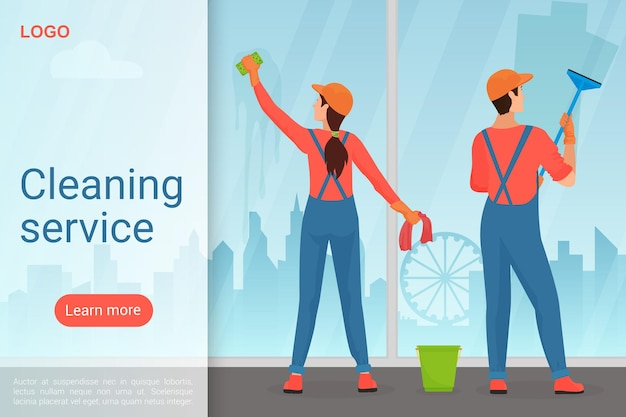 Cleaning service, housekeeping business landing page template