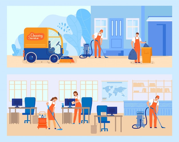 Cleaning service illustration, cartoon flat worker people team mopping, cleaner characters working at city street banner set