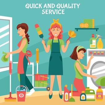 Illustrazione del servizio di pulizia