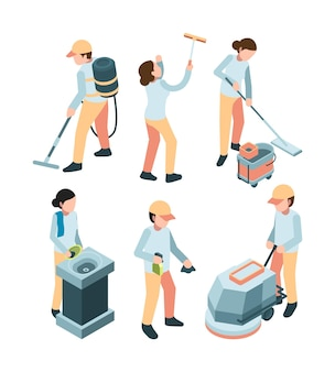 Cleaning service. industrial clean machines dishes washes room service professional workers laundry.