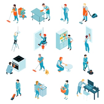 Cleaning service isometric set
