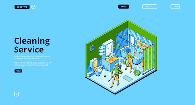 Cleaning service landing page with isometric people with spray and sponge in home bathroom