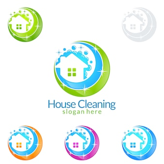 Cleaning service logo design with house and bubble
