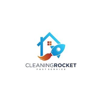 ロケットとほうきのクリーニングのコンセプトで、クリーニングサービスのロゴ