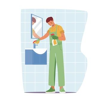 청소 서비스, 유니폼 작업복을 입은 남성 캐릭터가 욕실에서 거울과 세면대를 닦고 닦습니다. 전문 청소 회사 작업 프로세스의 남자 직원입니다. 만화 사람들 벡터 일러스트 레이 션