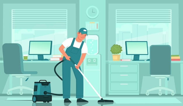 Cleaning service a male cleaner in uniform vacuums the floor in an office space
