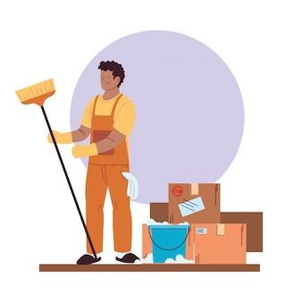 장갑, 청소 용품 및 상자 청소 서비스 맨