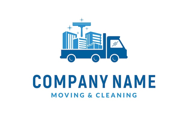 Cleaning service and moving logo design