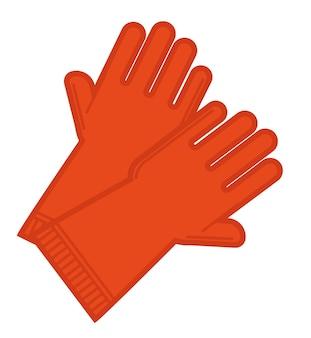 청소 서비스 또는 정원 관리, 진흙이나 화학 물질로부터 손을 보호하기 위해 라텍스로 만든 고무 장갑. 의료 종사자 또는 정원사 액세서리. 손 장갑, 평면 스타일의 벡터