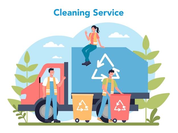 청소 서비스 또는 회사 개념. 특수 장비로 직원을 청소하십시오. 청소부 노동자는 거리를 청소하고 쓰레기를 분류합니다. 격리 된 평면 벡터 일러스트 레이 션