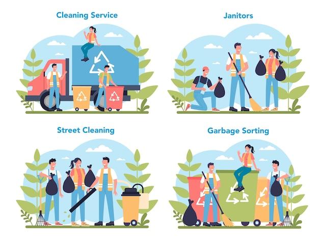 クリーニングサービスまたは会社のコンセプトセット。特別な設備を備えた清掃スタッフ。管理人の労働者が通りを掃除し、ゴミを分類します。