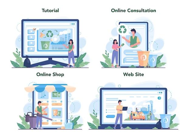 청소 서비스 또는 회사 온라인 서비스 또는 플랫폼 세트. 청소부 노동자는 거리를 청소하고 쓰레기를 분류합니다. 온라인 튜토리얼, 상담, 상점, 웹 사이트.