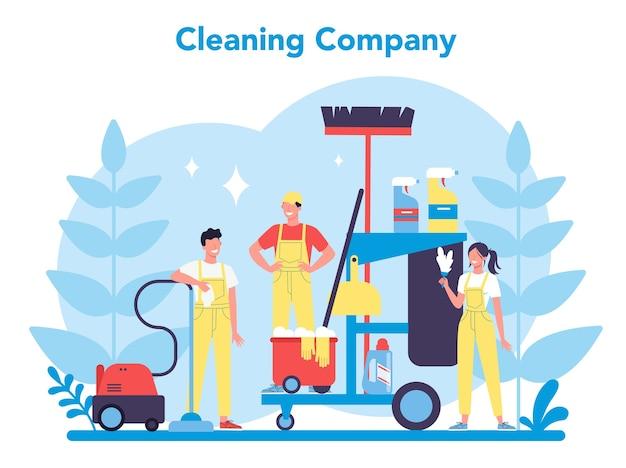清掃サービスまたは会社。家事をしている女性と男性。専門職。管理人が床と家具を洗う。