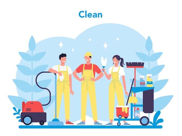 清掃サービスまたは会社。家事をしている女性と男性。