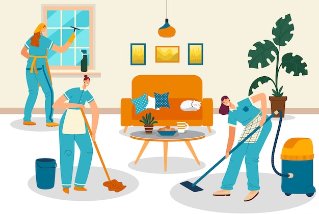 Cleaning service people, smiling women cartoon characters clean apartment room,  illustration