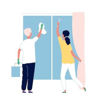清掃サービス。窓を洗う人。男と女のきれいな家、家庭のベクトル図
