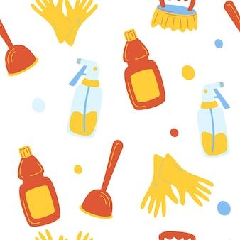 クリーニングサービスのシームレスパターン。クリーニングツールの面白い漫画のパターン。環境にやさしい家庭用クリーニング用品。家の洗濯用の製品。背景、パンフレット、ラベル、パッケージに適したデザイン。