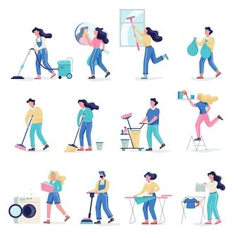 청소 서비스 세트. 여자와 집안일을하는 남자의 컬렉션입니다. 전문 직업. 청소부 세척 바닥. 만화 스타일의 그림