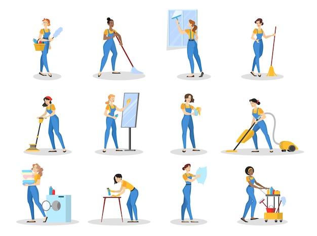 Набор услуг по уборке. коллекция женщины в униформе