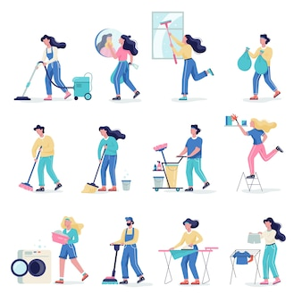 Cleaning service set. collection of woman and man doing housework. professional occupation. janitor washing floor.   illustration in cartoon style