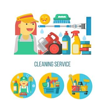 Услуги по уборке. набор чистящих средств в пластиковой корзине, пылесос, горничная, швабра.