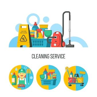 清掃サービス。プラスチックバスケット、ウェットフロアサイン、掃除機のクリーニング製品のセット。