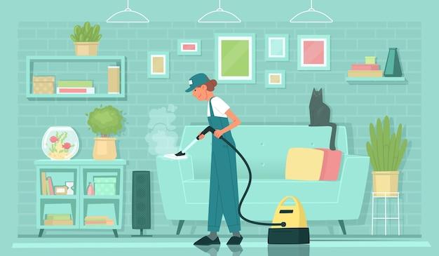 清掃サービス表面のスチーム処理蒸し器女性クリーナーがソファを掃除します