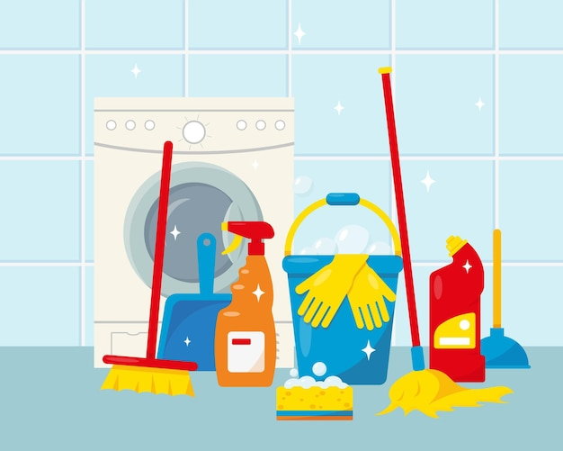 Cleaning service supplies or house cleaning products and tools and washing machine
